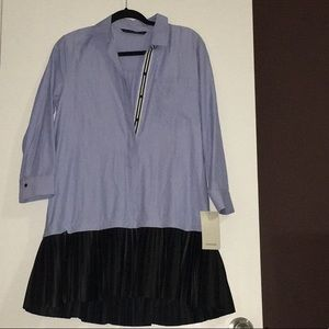 👄Zara Blue Strip Pleated Black Shirt Dress